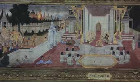 Vivahamongkol - Tempera on wood at Jivaprasert Temple's Sala, Petchaburi