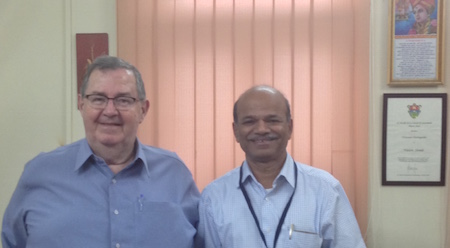 Peter Skilling with Dr. Vasant Shinde, Vice-Chancellor, Deccan College