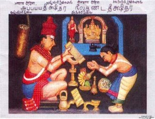 Appaya Dīkṣita handing over some of his works to his disciple-brother's grandson Nīlakaṇṭha Dīkṣita, Minister to Madurai Tirumalai Nāyakkar