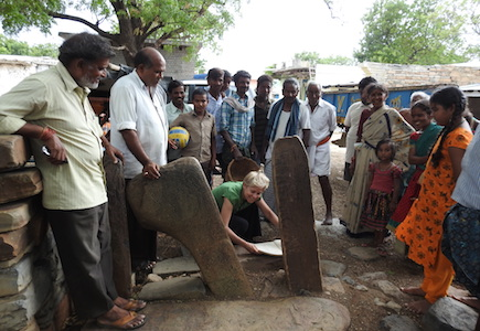 Charlotte examines C7th inscriptions in Andhra Pradesh