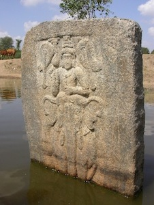 Slab with Murugan in the lake of Kappiyampuliyur, near Viluppuram