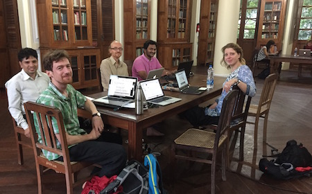 From left to right, Nirajan Kafle, Andrey Klebanov, Jason Birch, Vishwanath Gupta and Melinda Fodor