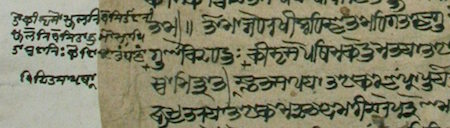 Detail of a manuscript of the Raghupañcikā in Śāradā script.