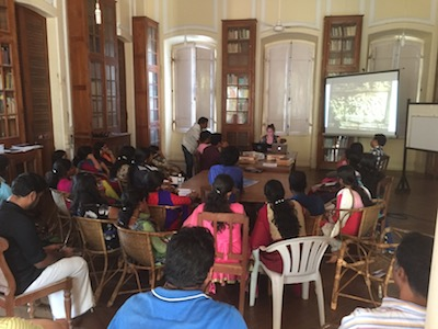 Louise Roche presents her research to students of the Trivandrum Sanskrit College