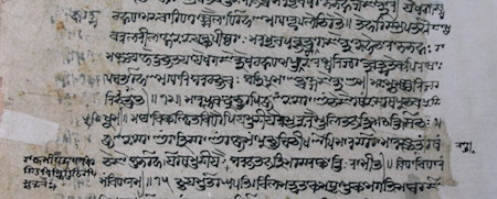 Detail of a Kashmirian manuscript in Śāradā script that transmits the Raghupañcikā